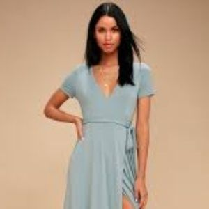 Lulu's NWT Slate Blue Wrap Mini Dress XS
